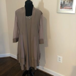 Dress with semi sheer gown - new